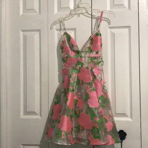 Asos salon organza floral pink and green dress